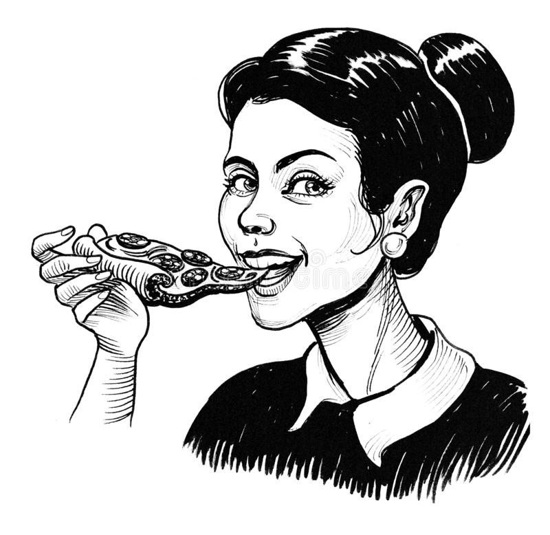 Girl and pizza stock illustration