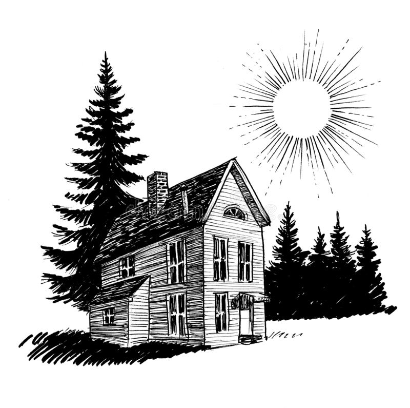 Old house and tree royalty free illustration