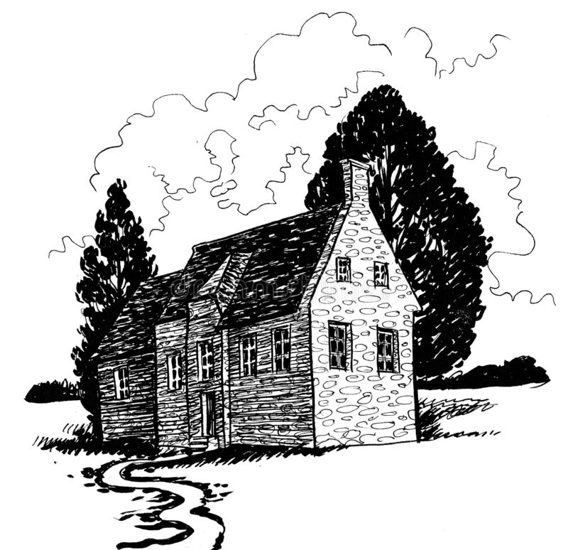 Old stone cottage stock illustration