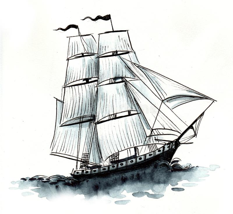 Old sailing ship. Ink black and white drawing of a tall sailing ship stock illustration