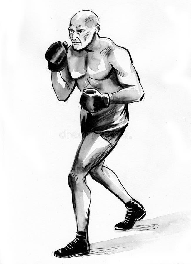 Bald boxing man vector illustration