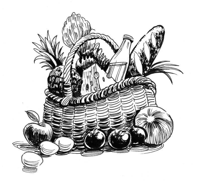 Food basket vector illustration