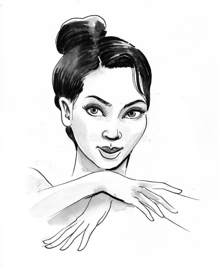 Beautiful brunette woman royalty free illustration