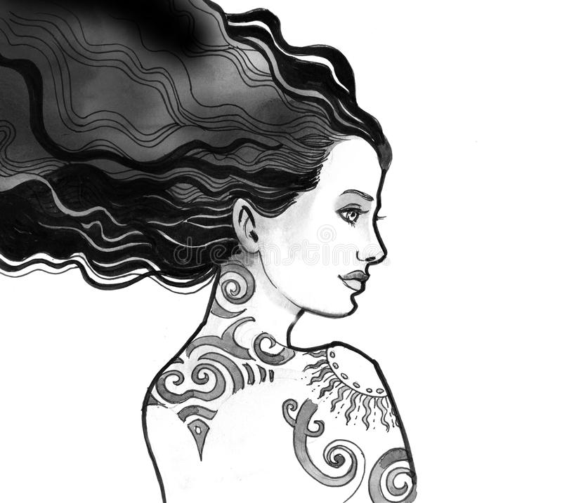 Woman with a tribal tattoo stock illustration