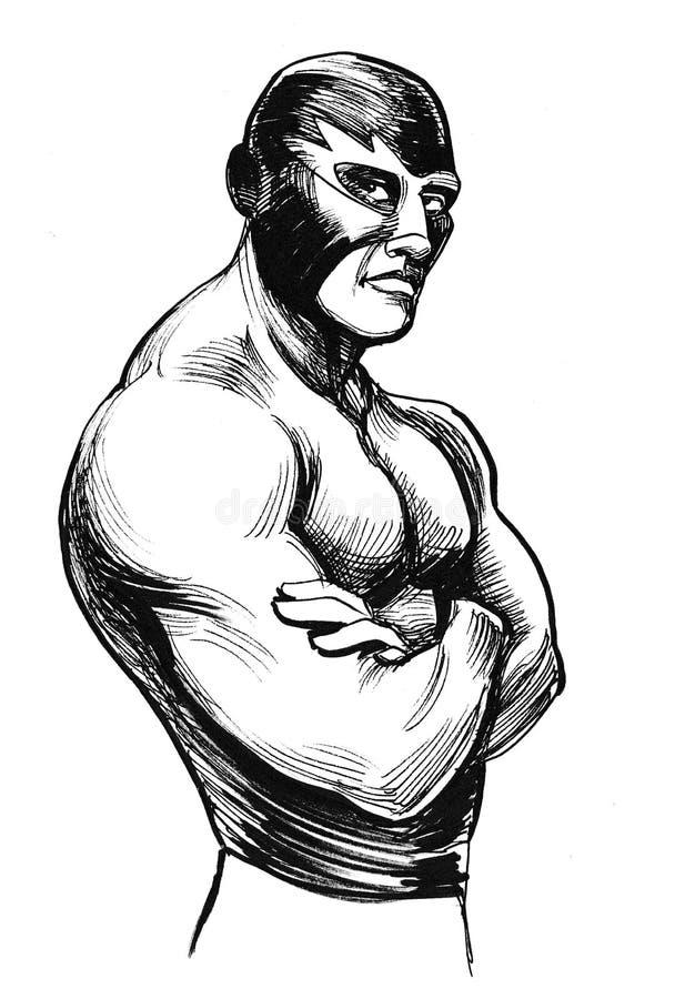 Strong wrestler. Ink black and white illustration of a big muscular male wrestler in a mask vector illustration