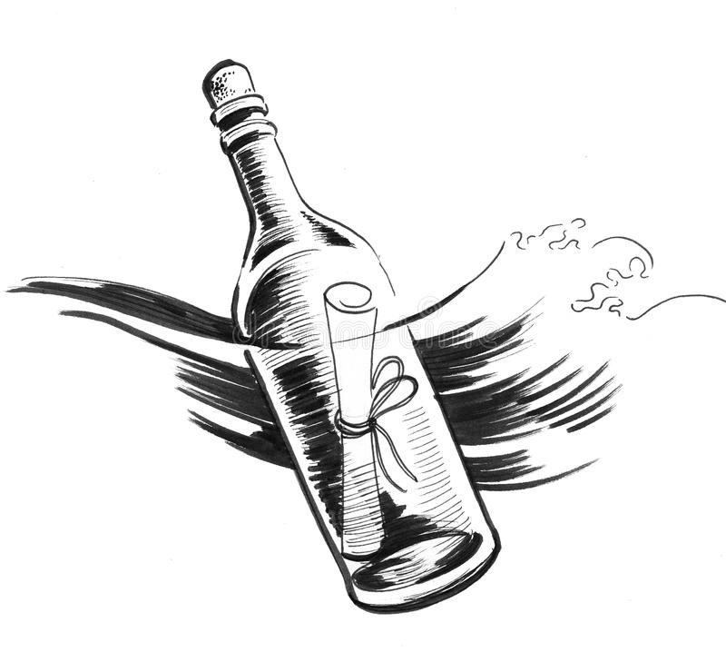 Message in the bottle stock illustration