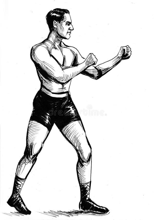 Retro boxing man royalty free illustration
