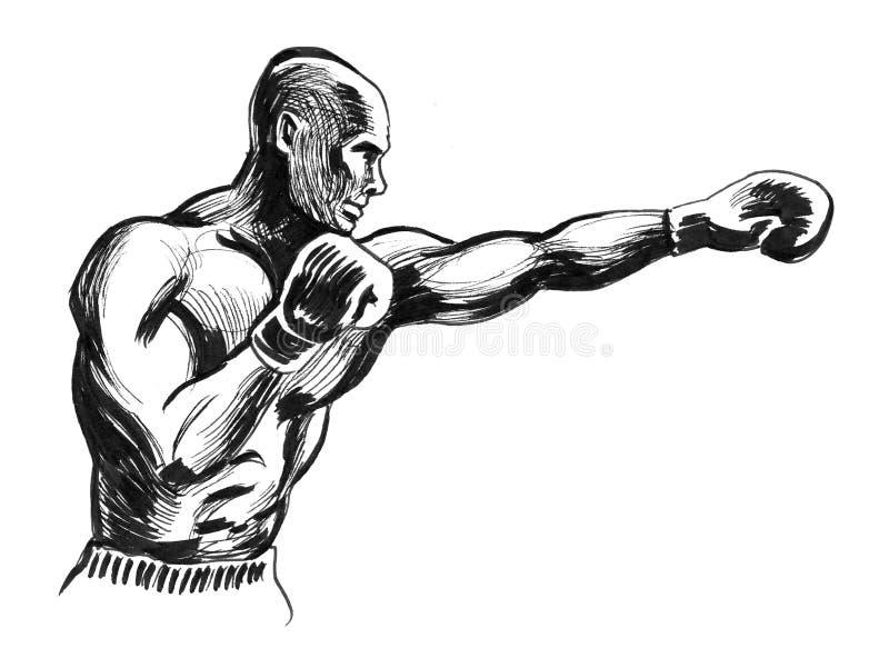 Black boxing man royalty free illustration