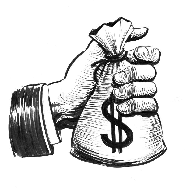 Hand with a bag of money royalty free illustration