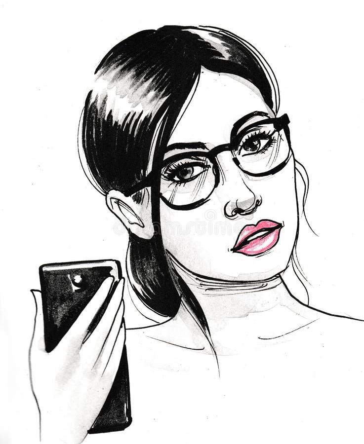 Pretty woman taking selfie vector illustration
