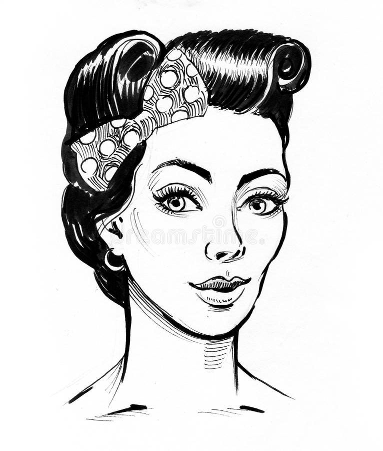 Pin up hairstyle vector illustration