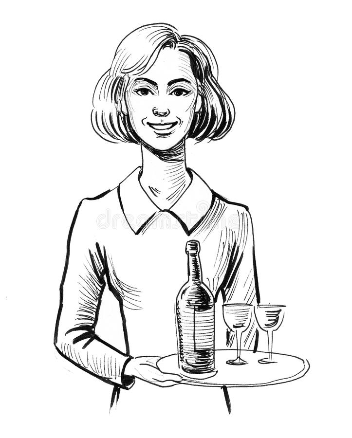 Pretty waitress. Ink black and white illustration vector illustration