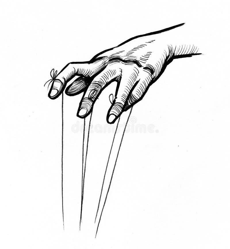 Puppeteer hands stock illustration