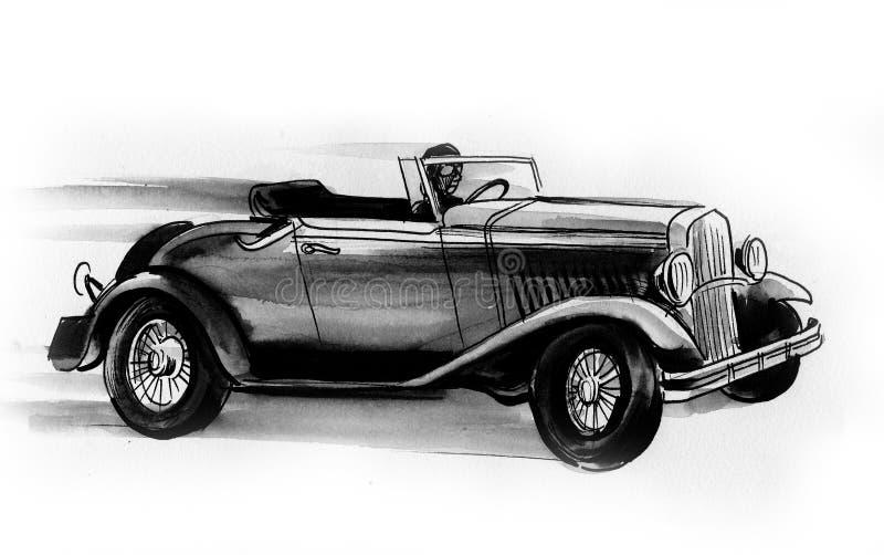 Speeding retro car stock illustration