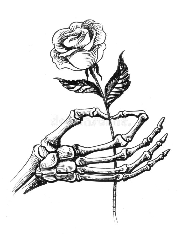 Skeleton hand with a rose stock illustration