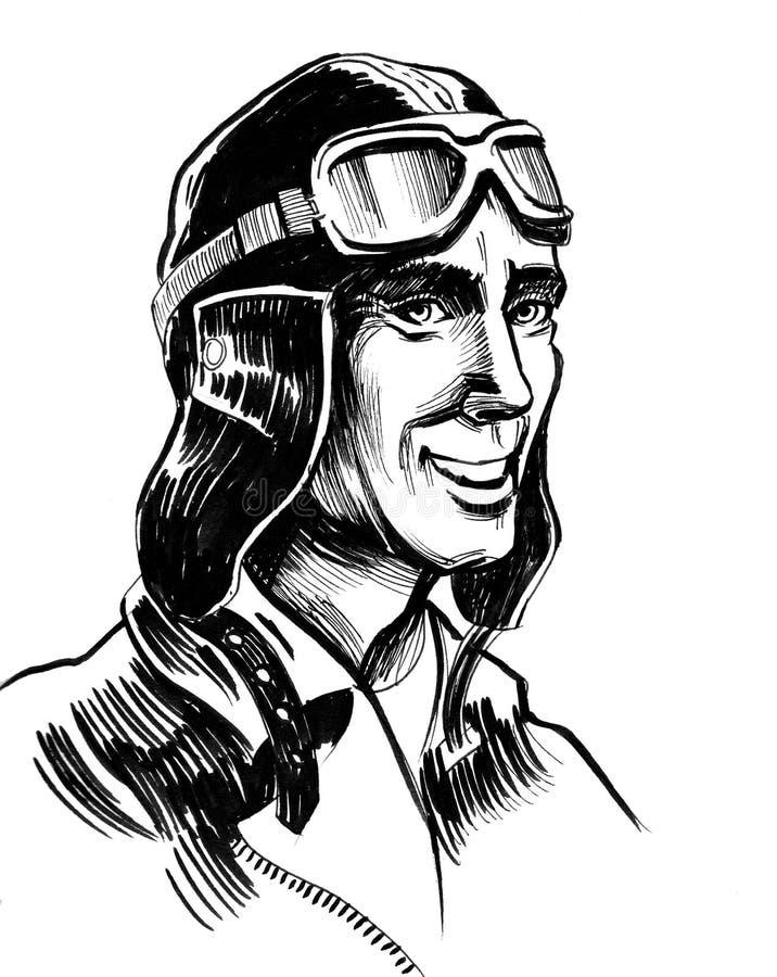 Retro pilot vector illustration