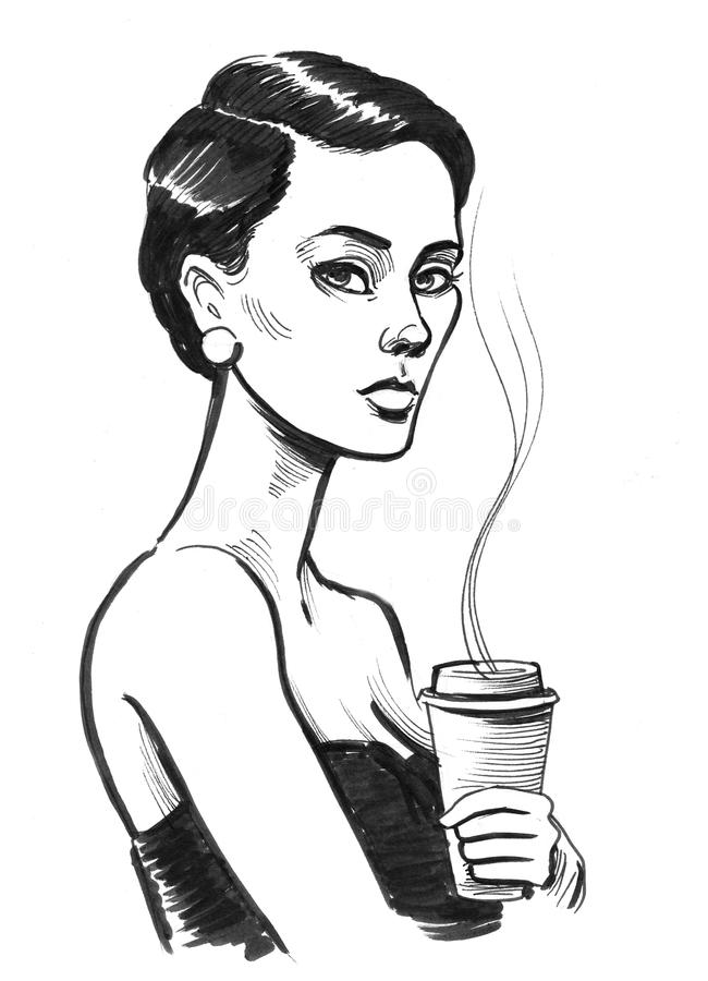 Girl with a coffee cup vector illustration