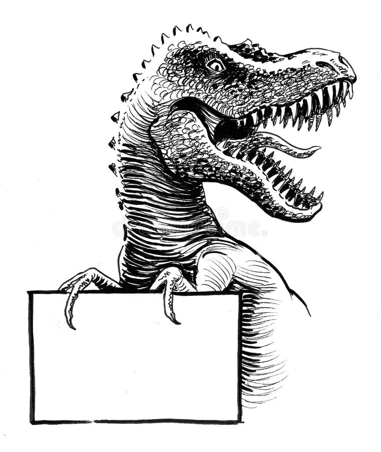 T-Rex with a sign. Ink black and white illustration of a T-Rex dinosaur with an open mouth holding a blank rectangular sign royalty free illustration