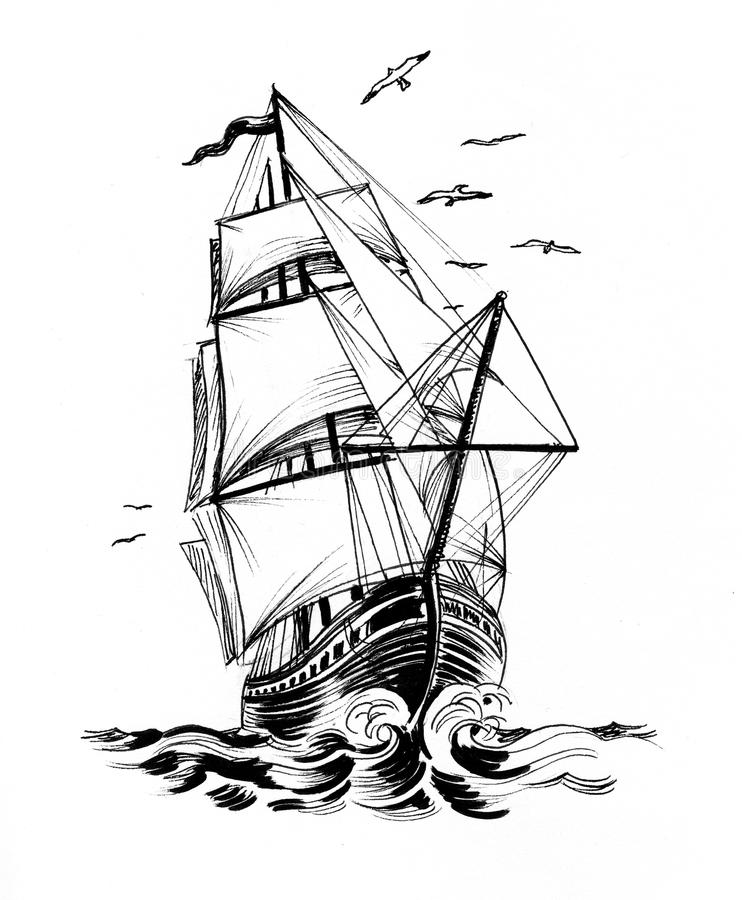 Sailing ship and seagulls. Ink black and white illustration of a tall sailing ship and flying seagulls royalty free illustration