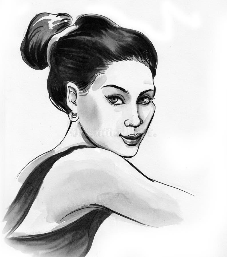 Beautiful brunette female stock illustration