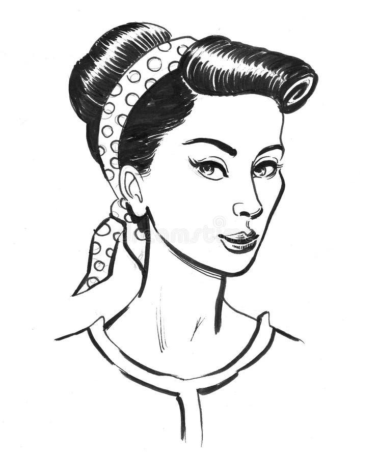 Pin up beauty royalty free illustration