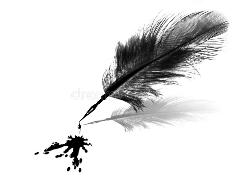 Ink blob and feather pen stock illustration
