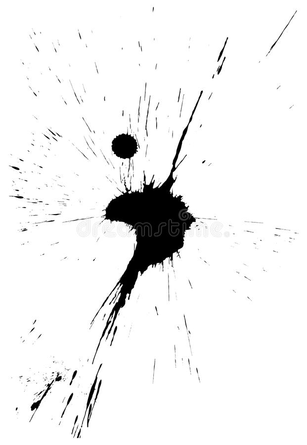 Ink blot. Black isolated ink blot with messy drops stock illustration