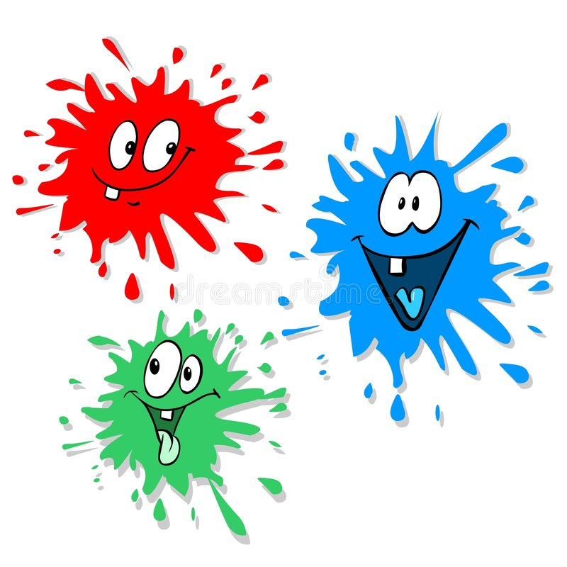 Ink blot characters. Red green and blue ink blots vector illustration