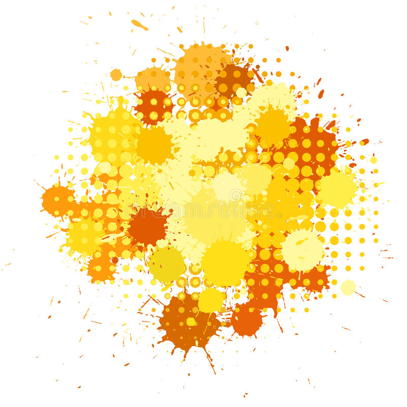 Ink blots and halftones patterns in yellow colors. Set of ink blots and halftones patterns in yellow colors royalty free illustration