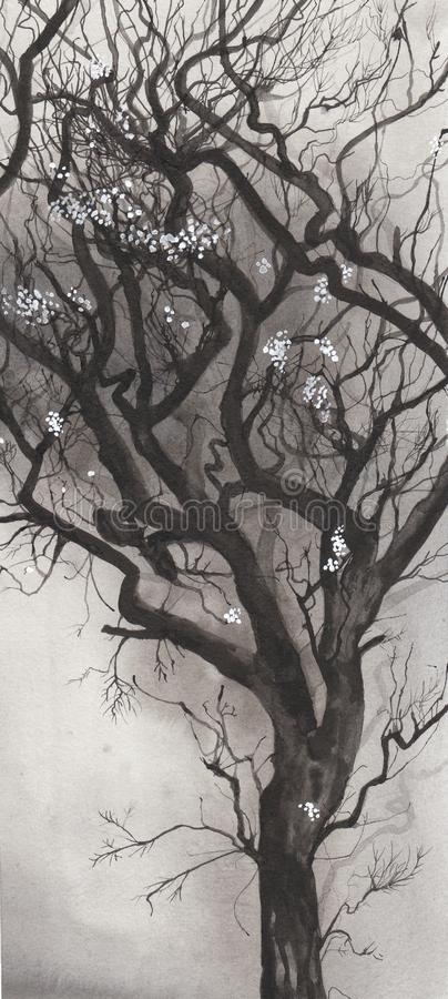Download Ink blown tree stock illustration. Image of winter, grey - 24967276