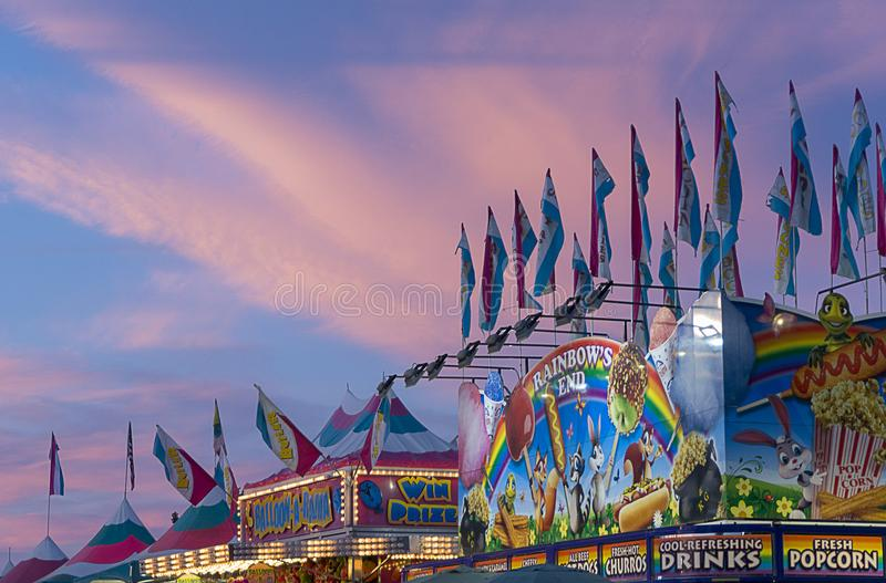 Summer night at the state fair royalty free stock photo