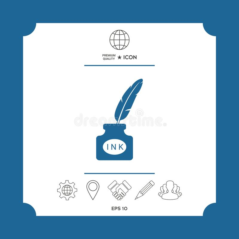 Ink Bottle With Feather Icon Stock Vector Illustration Of