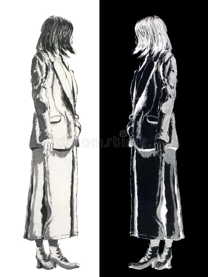 Woman pose ink paper brush drawing. Original hand painted art of standing female figures facing her opposite self. Blank and white brush painting stock illustration
