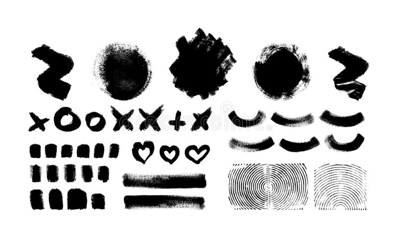 Ink brush paint stroke, blot isolated on white. Ink brush paint stroke, line, blot, heart, circle, cross are isolated on white background. Vector illustration of royalty free illustration