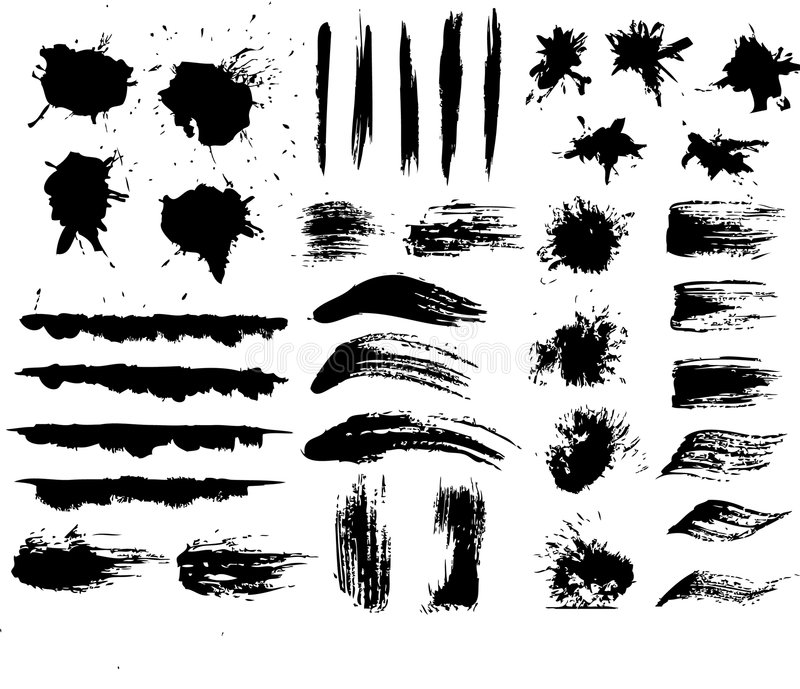 Ink and brush stokes stock illustration