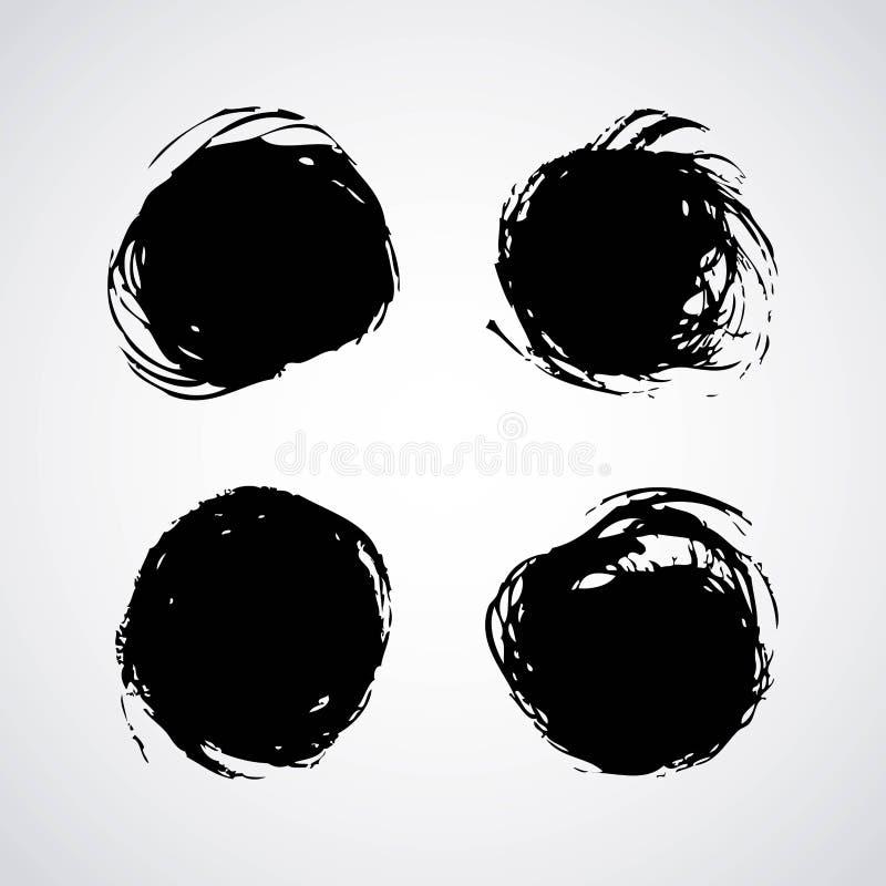 Ink brush stroke different grunge art texture dirty creative element paintbrush. Vector illustration stock illustration