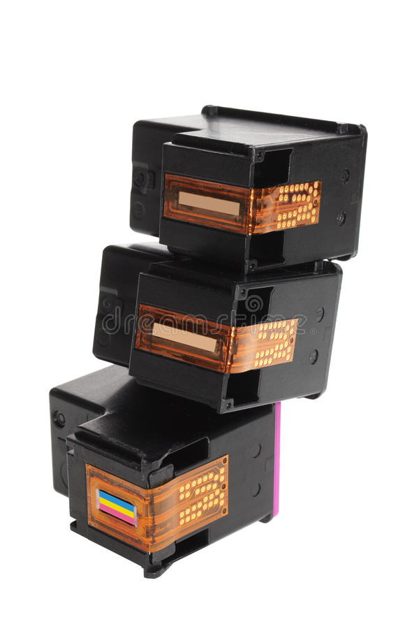 Ink Cartridges. On White Background royalty free stock photography