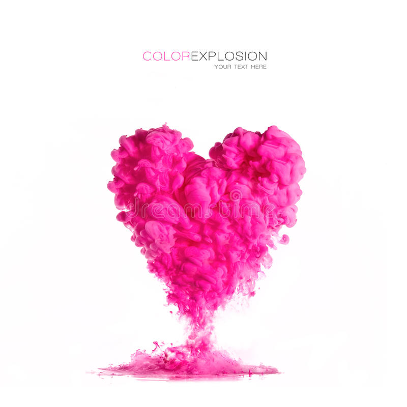 Ink cloud pink heart-shaped on white. Color Explosion stock photos