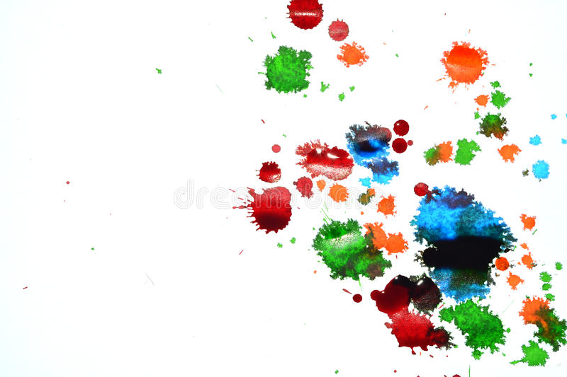 Ink color stains. On white paper stock images