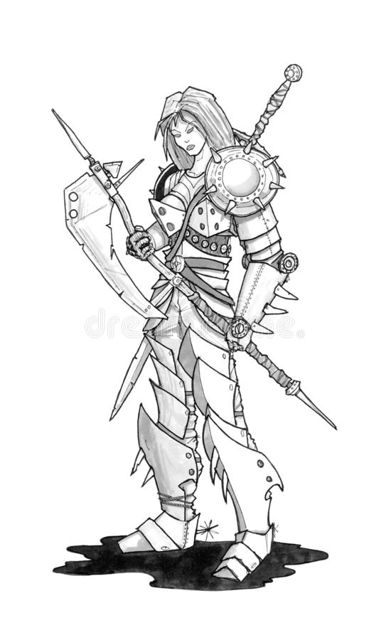 Ink Concept Art Drawing of Fantasy Woman Warrior in Armor With Ax vector illustration
