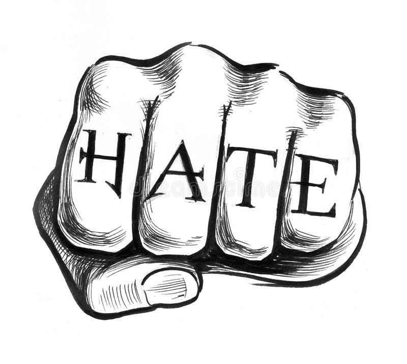 Hate tattoo. Ink drawing of a fist with a hate tattoo stock illustration