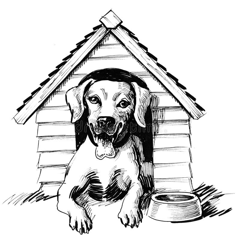 Dog in home royalty free illustration