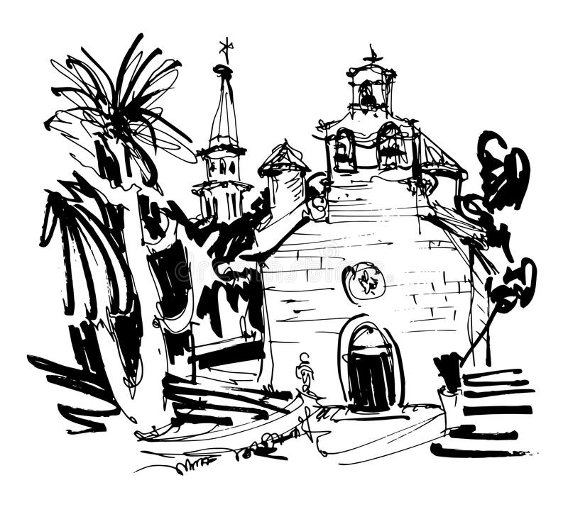Ink drawing of historic church in with palm in Budva Montenegro. Old town travel vector illustration royalty free illustration