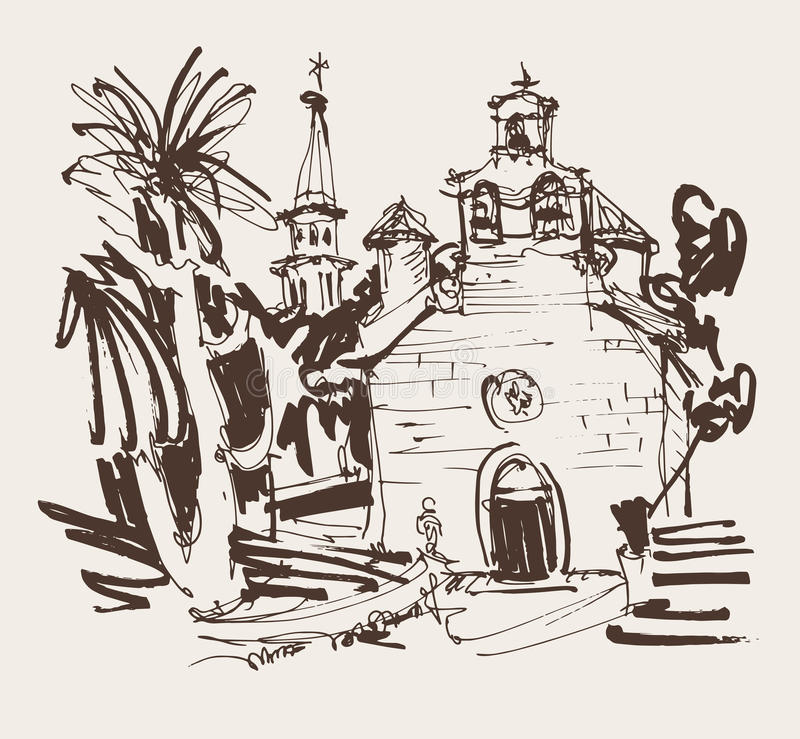 Ink drawing of historic church in with palm in Budva Montenegro. Sepia ink drawing of historic church in with palm in Budva Montenegro, old town travel vector stock illustration