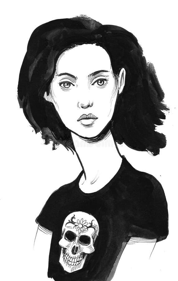 Pretty woman in black tshirt stock illustration