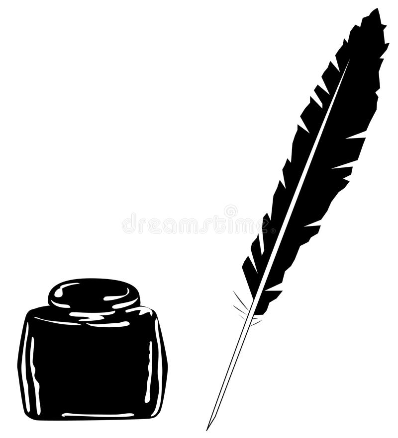 Ink and feather stock illustration