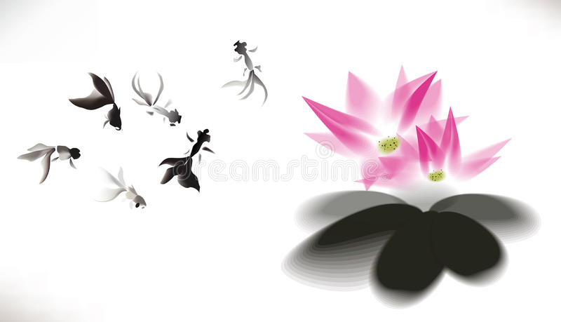 Ink gold fish background. Lotus vector illustration