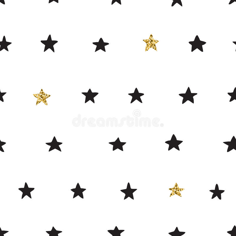 Ink and gold hand drawn doodle vector seamless star pattern. Black ink, white and gold glitter hand drawn doodle vector seamless star pattern stock illustration