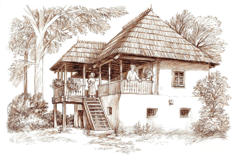 Ink hand drawing country house landscape. Pen hand drawing of a rural architectural landscape, which shows an old romanian house from Vallachia (nowadays