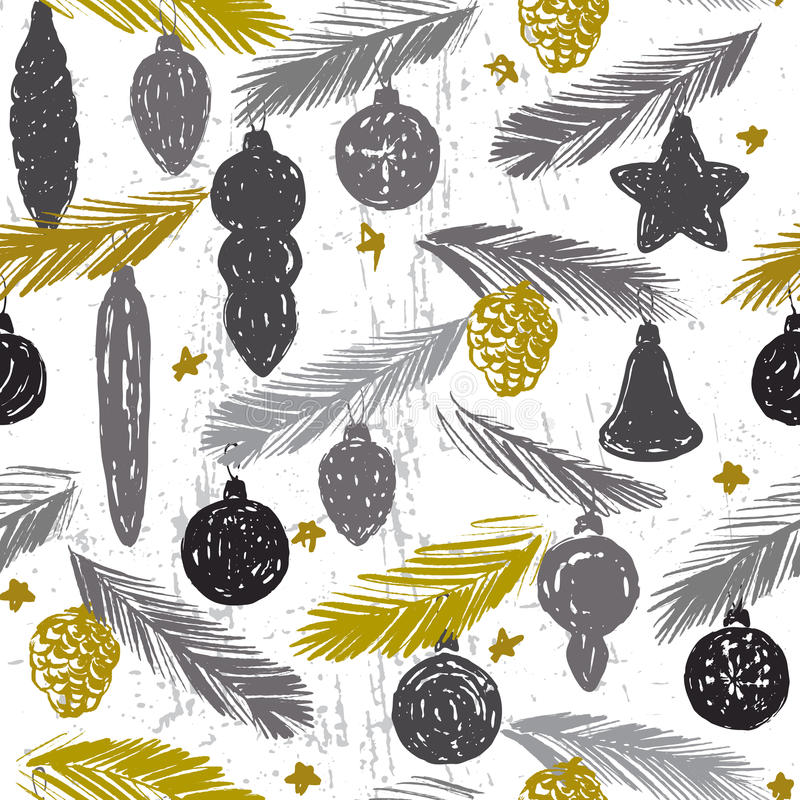 Ink hand drawn vintage christmas tree ornament. For textile, wallpaper, wrapping, web backgrounds and other pattern fills stock illustration